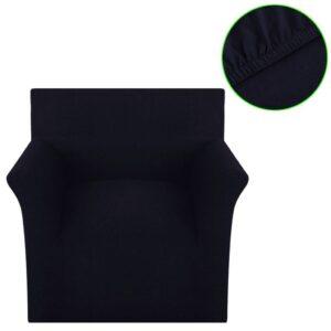 Capa de sofá elástica de jersey de algodão, preto  - PORTES GRÁTIS