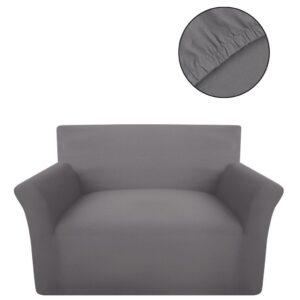 Capa de sofá elástica de jersey de algodão, cinzento - PORTES GRÁTIS