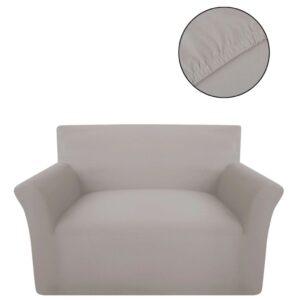Capa de sofá elástica de jersey de algodão, bege  - PORTES GRÁTIS