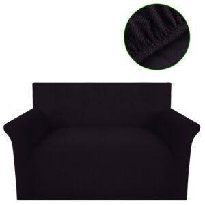 Capa sofá em malha canelada de poliéster elástica, castanho  - PORTES GRÁTIS