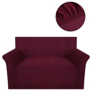 Capa sofá malha canelada de poliéster elástica, bordô  - PORTES GRÁTIS