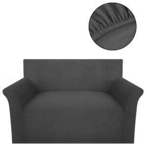 Capa sofá em malha canelada de poliéster elástica, cinzento - PORTES GRÁTIS