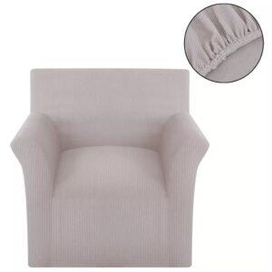 Capa sofá, malha canelada de poliéster elástica, bege  - PORTES GRÁTIS