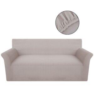 Capa para sofá de poliéster trecho, bege - PORTES GRÁTIS