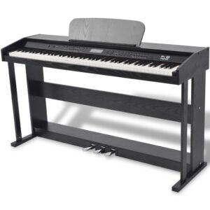 Piano digital de 88 teclas com pedais, placa de melamina preta - PORTES GRÁTIS