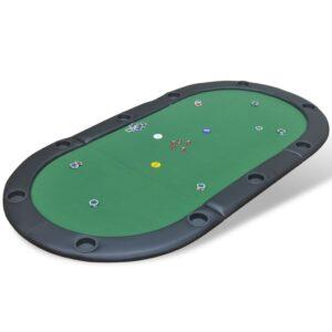 Mesa tabuleiro de poker dobrável 10 jogadores verde  - PORTES GRÁTIS