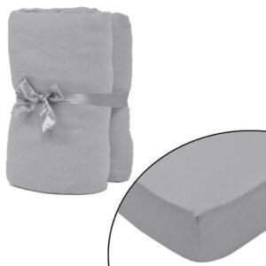 Lençol ajustável 2 pcs algodão 140x200-160x200 cm, cinzento - PORTES GRÁTIS