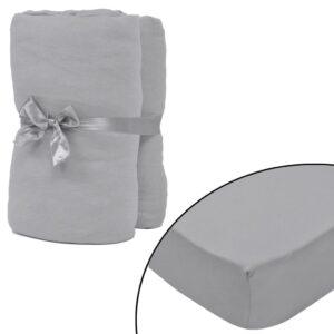 Lençol ajustável 2 pcs jersey algodão 180x200-200x220 cm cinza - PORTES GRÁTIS