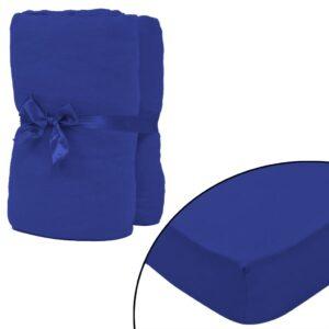 Lençol ajustável 2 pcs algodão 160 gm 120x200-130x200 cm azul - PORTES GRÁTIS