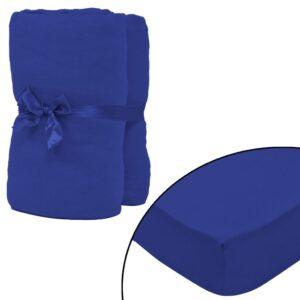 Lençol ajustável 2 pcs algodão 160 gm 140x200-160x200 cm azul - PORTES GRÁTIS