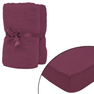 Lençol ajustável 2 pcs algodão 140x200-160x200 cm borgonha - PORTES GRÁTIS