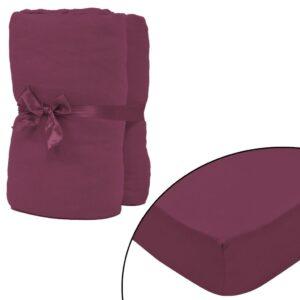Lençol ajustável 2 pcs algodão 160 gm 180x200-200x220 cm bordô - PORTES GRÁTIS