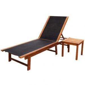 Espreguiçadeira com mesa madeira de acácia maciça e textilene - PORTES GRÁTIS