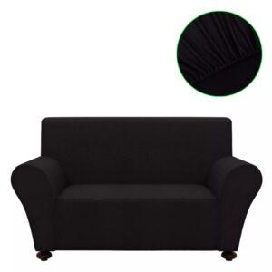 Capa para sofá de poliéster jérsei, preto - PORTES GRÁTIS