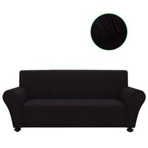 Capa de sofá elástica de jersey de poliéster, preto - PORTES GRÁTIS