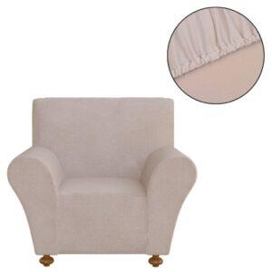 Capa de sofá elástica de jersey de poliéster, bege - PORTES GRÁTIS