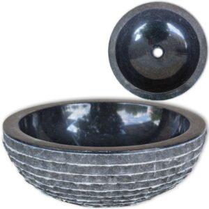 Lavatório em mármore 40 cm preto - PORTES GRÁTIS