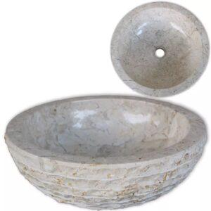 Lavatório em mármore 40 cm creme - PORTES GRÁTIS