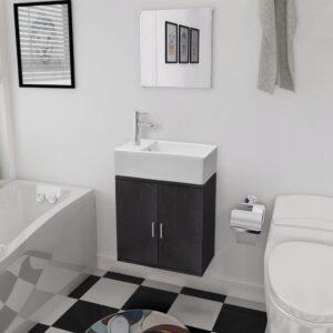 Móveis casa de banho 3 pcs e conjunto de bacia preto  - PORTES GRÁTIS