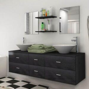 Móveis casa de banho 7 pcs e conjunto lavatório preto - PORTES GRÁTIS