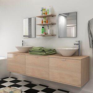 Móveis casa de banho 8 pçs e conjunto de bacia, bege - PORTES GRÁTIS
