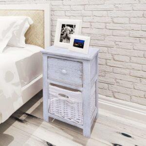 Mesa de cabeceira em madeira branco  - PORTES GRÁTIS