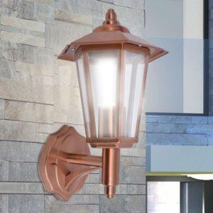 Candeeiro parede ext. iluminação ascendente aço inoxid. cobre - PORTES GRÁTIS