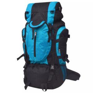 Mochila de caminhada XXL 75 L preto e azul - PORTES GRÁTIS