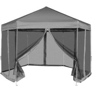 Tenda festas pop-up hexagonal, 6 paredes, cinzento 3,6x3,1m - PORTES GRÁTIS