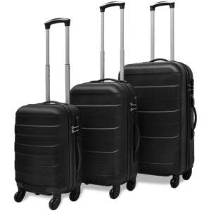 Conjunto de três trolleys rígidos, preto - PORTES GRÁTIS