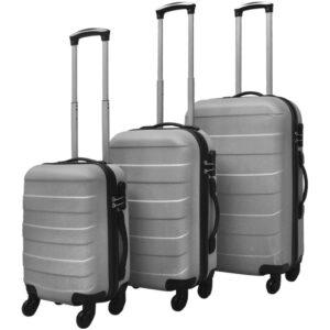 Conjunto de três trolleys rígidos, prateado - PORTES GRÁTIS
