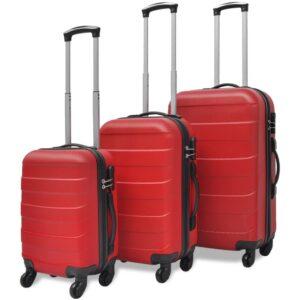 Conjunto de três trolleys rígidos, vermelho - PORTES GRÁTIS