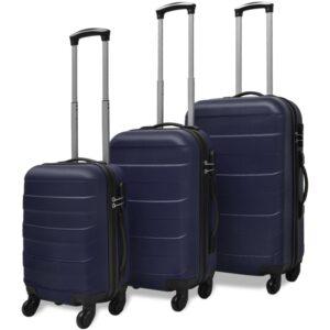 Conjunto de três trolleys rígidos, azul - PORTES GRÁTIS