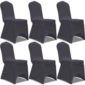 Capa extensível para cadeira 6 pcs antracite - PORTES GRÁTIS