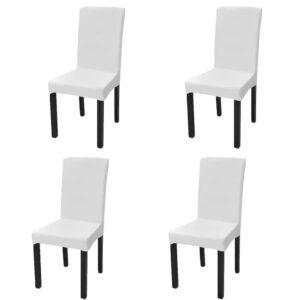 Capa extensível para cadeiras, 4 pcs, branco - PORTES GRÁTIS