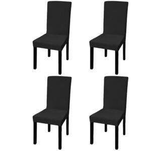 Capa extensível para cadeiras, 4 pcs, preto - PORTES GRÁTIS