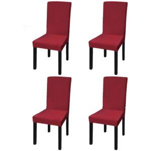 Capa extensível para cadeiras, 4 pcs, bordô - PORTES GRÁTIS