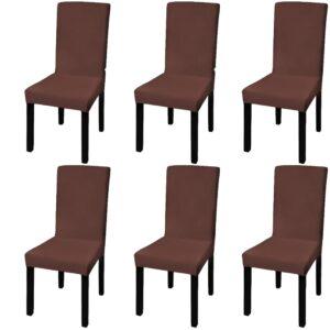Capa extensível para cadeira 6 pcs castanho - PORTES GRÁTIS