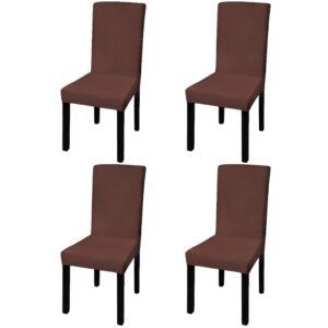 Capa extensível para cadeira 4 pcs castanho - PORTES GRÁTIS