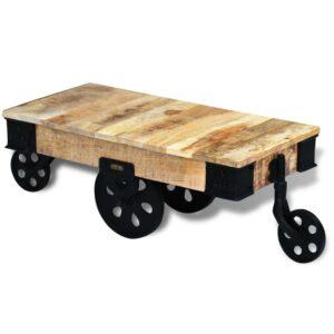 Mesa de centro + rodas em madeira de mangueira áspera - PORTES GRÁTIS