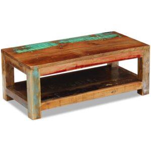 Mesa de centro sólida madeira reciclada 90x45x35 cm - PORTES GRÁTIS