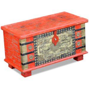 Arca arrumos madeira de mangueira 80x40x45 cm vermelho - PORTES GRÁTIS