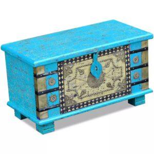 Arca de arrumos madeira de mangueira 80x40x45 cm, azul - PORTES GRÁTIS