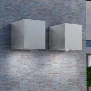 Candeeiros parede, LED inferior, p/ exterior, 2 pcs, quadrado - PORTES GRÁTIS