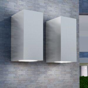Candeeiros parede LED superior/inferior p/ext., 2 pcs, quadrado - PORTES GRÁTIS