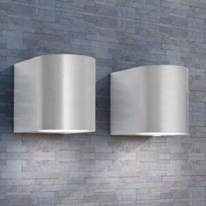 Candeeiros parede LED inferior p/exterior 2 pcs redondo - PORTES GRÁTIS