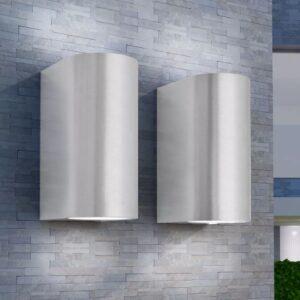 Candeeiros parede LED superior/inferior p/ext., 2 pcs, redondo - PORTES GRÁTIS
