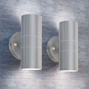 Candeeiros LED parede iluminação sup/inf exterior 2 pcs aço inox. - PORTES GRÁTIS