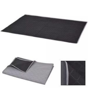 Toalha de piquenique cinzento e preto 100x150 cm - PORTES GRÁTIS