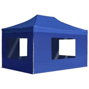 Tenda dobrável profissional com paredes alumínio 4,5x3m azul - PORTES GRÁTIS
